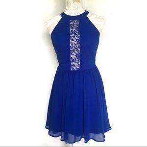 ASOS // Blue Lace Deep Cut Front Open Back Dress 4